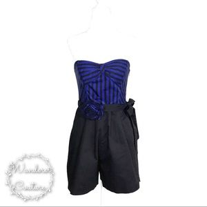 ANTHRO Maeve Strapless Striped Romper w/ Belt